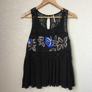 Free People Black Floral Embroidered Blouse Tank